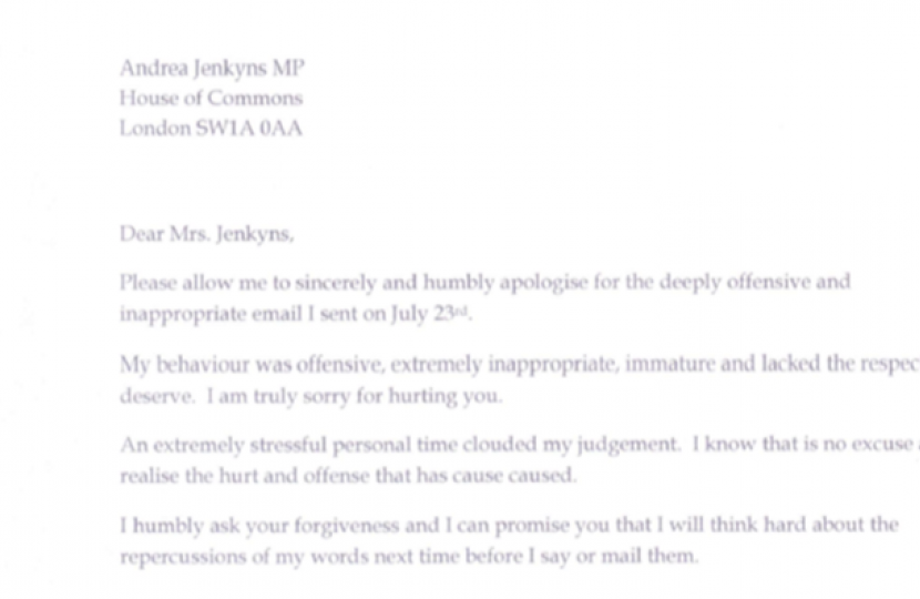 Apology letter in full